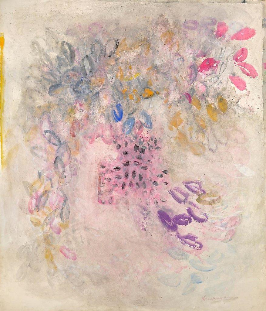 Feuille gouache huile/papier marouflé 177x150cm fin années 60