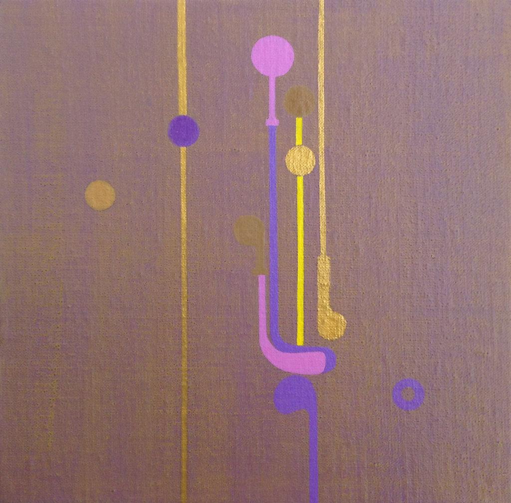 """""""Composition mauve"""" 24x24cm 2016-Acrylique sur toile maroulée sur châssis"""