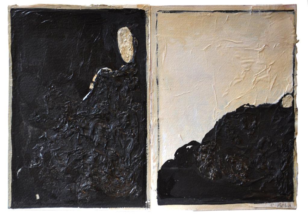 Dyptique : collage, encre et acrylique sur papier, 2017, 27,5 x 38 cm.