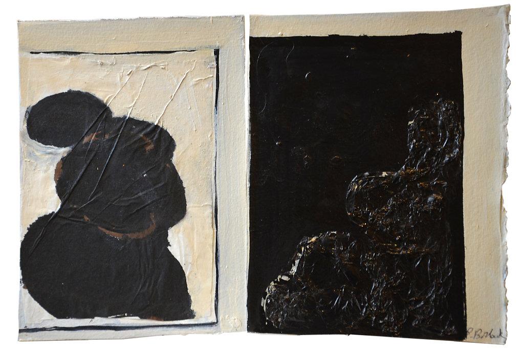 Dyptique : collage, encre et acrylique sur papier, 2017, 20 x 29 cm.