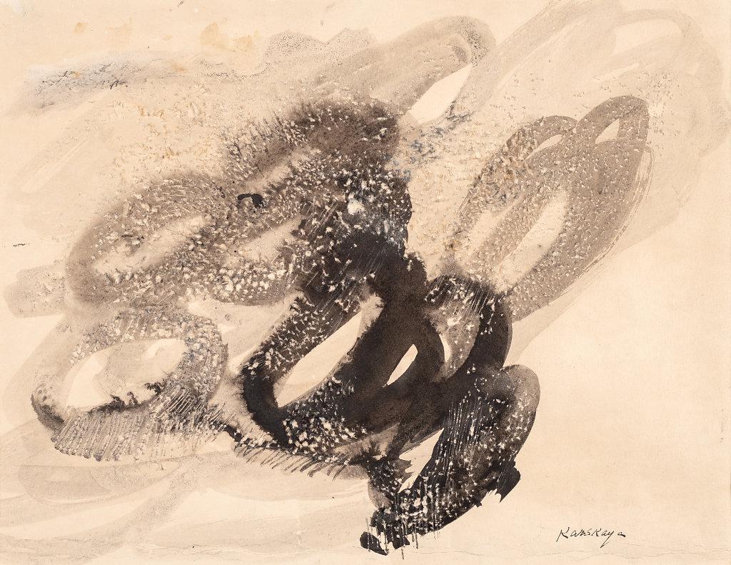 Encre et grattage sur papier 27x5cm 1958