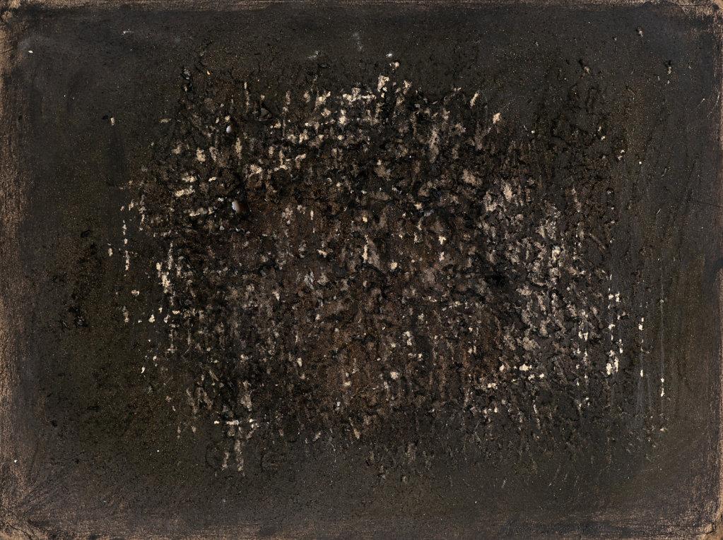 """""""Gris quotidien"""" Gouache et grattage sur papier 22,5x31cm 1959"""