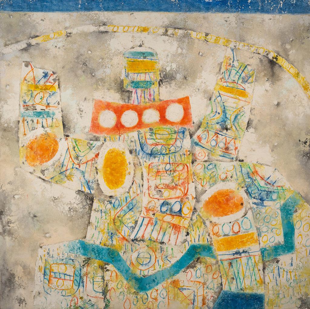 """""""Le centaure"""" Technique mixte sur toile 120x120cm 1971"""