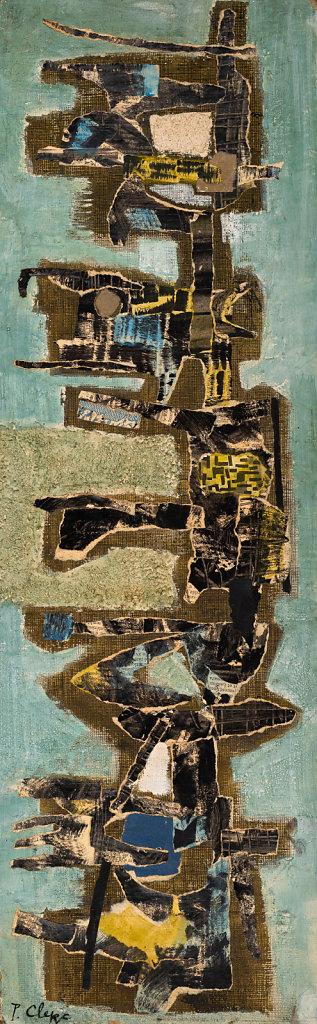 """""""Totem"""" Technique mixte et collage sur carton 77x24cm circa 1957"""