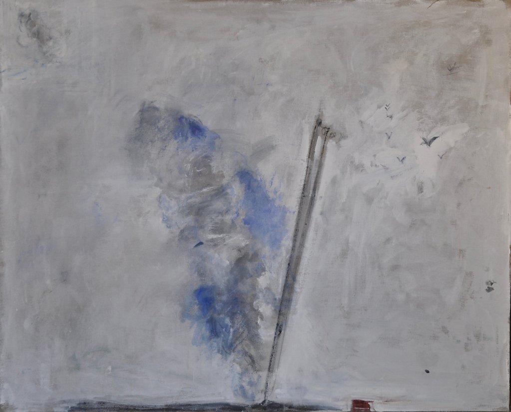 """""""Fumée"""" Huile sur toile 81x100cm 2020"""