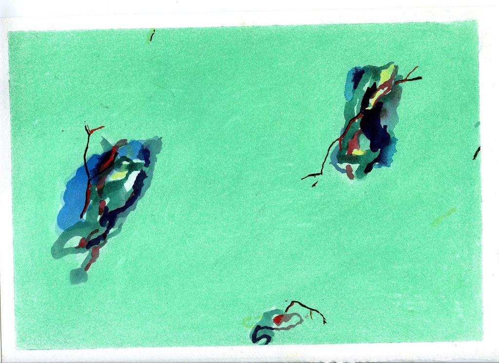 """""""Printemps"""" gouache et pigments/Papier 21x29,7cm 2018"""