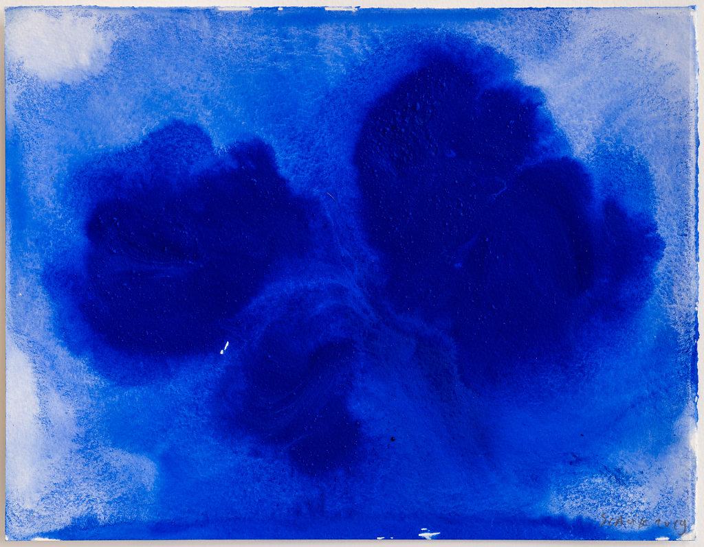 Bleu 3 25x32,5 cm Pigments, huile sur papier 2019