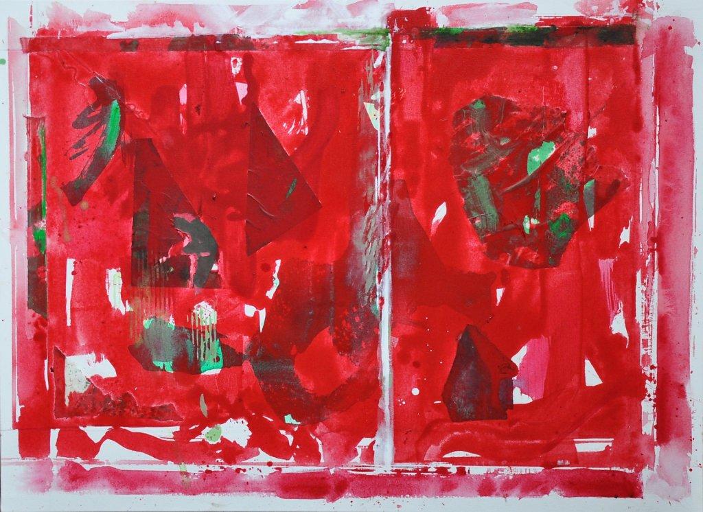 """""""Rouge, feuilles vertes"""""""" 2019 Acrylique/toile 73x100cm"""