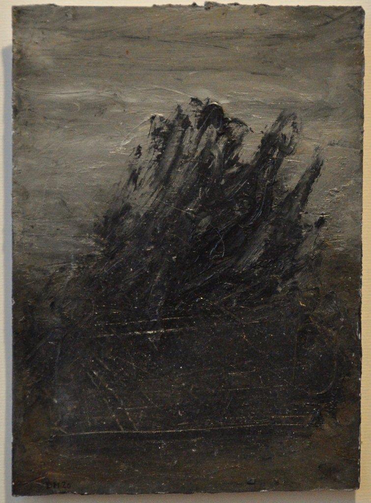 Sans Titre Caséine , crayon- fusain et huile sur papier 21 x 15.5 cm